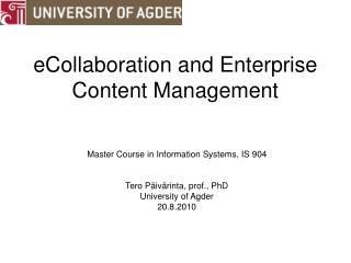 eCollaboration and Enterprise Content Management
