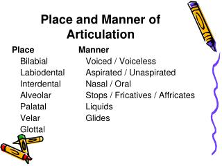 Place and Manner of Articulation