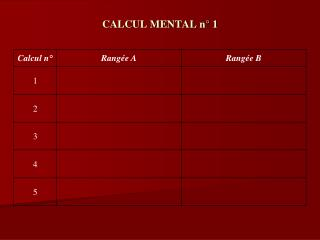 CALCUL MENTAL n° 1