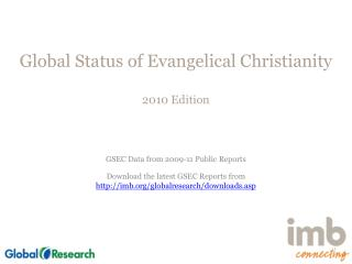 Global Status of Evangelical Christianity 2010 Edition