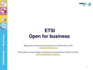 ETSI  Open for business