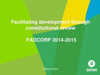 Facilitating development through constitutional review  FADCORP 2014-2015