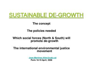 SUSTAINABLE DE-GROWTH