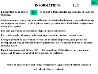 INFORMATIONS               1 / 2