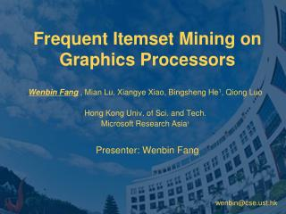 Frequent Itemset Mining on Graphics Processors