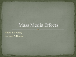 The impact of media:  Media research and media theories