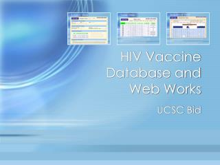 HIV Vaccine Database and Web Works