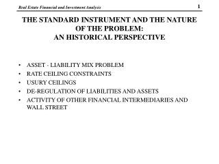 THE STANDARD INSTRUMENT AND THE NATURE OF THE PROBLEM:   AN HISTORICAL PERSPECTIVE