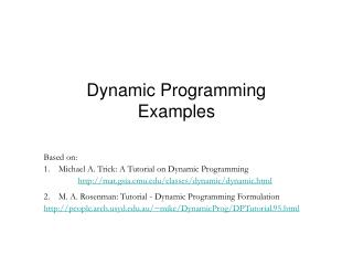 Dynamic Programming Examples