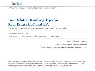 Tax-Related Drafting Tips for  Real Estate LLC and LPs