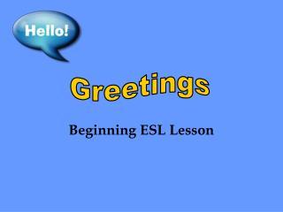 Beginning ESL Lesson