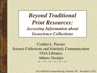 Beyond Traditional  Print Resources:  Accessing Information about Geoscience Collections