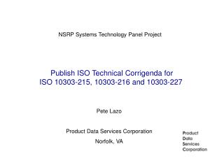 Publish ISO Technical Corrigenda for ISO 10303-215, 10303-216 and 10303-227