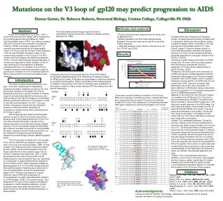 Mutations on the V3 loop of gp120 may predict progression to AIDS