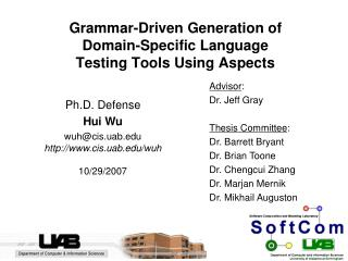 Grammar-Driven Generation of  Domain-Specific Language  Testing Tools Using Aspects