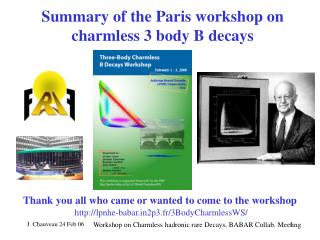 Summary of the Paris workshop on charmless 3 body B decays