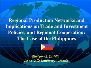 Paulynne J. Castillo De La Salle University - Manila