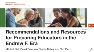 Recommendations and Resources for Preparing Educators in the Endrew F. Era