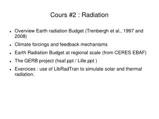 Cours #2 : Radiation