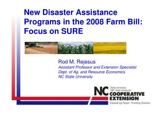 New Disaster Assistance Programs in the 2008 Farm Bill: Focus on SURE