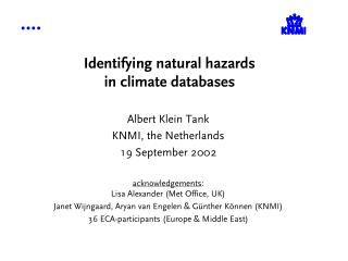 Identifying natural hazards in climate databases
