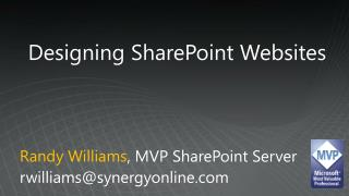 Designing SharePoint Websites