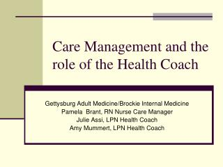Care Management and the role of the Health Coach