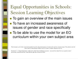 Equal Opportunities in Schools: Session Learning Objectives