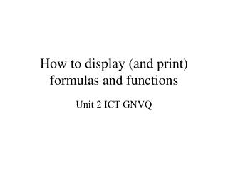 How to display (and print) formulas and functions