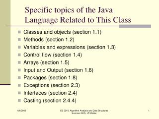 Specific topics of the Java Language Related to This Class