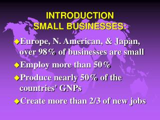INTRODUCTION  SMALL BUSINESSES: