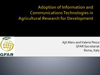 Adoption of Information and Communications Technologies in Agricultural Research for Development