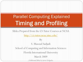 Parallel Computing Explained Timing and Profiling