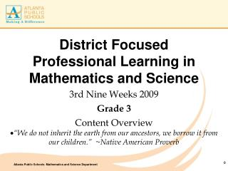 District Focused Professional Learning in Mathematics and Science
