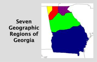 Seven Geographic Regions of Georgia
