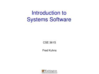 Introduction to  Systems Software