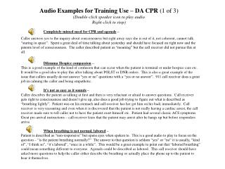 Audio Examples for Training Use   DA CPR 1 of 3 Double-click speaker icon to play audio Right-click to stop