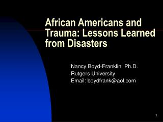 African Americans and Trauma: Lessons Learned from Disasters