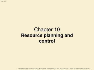 Chapter 10 Resource planning and control