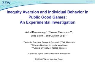 Inequity Aversion and Individual Behavior in Public Good Games:  An Experimental Investigation