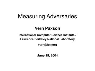Measuring Adversaries