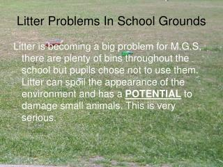 Litter Problems In School Grounds