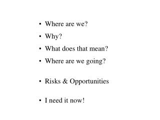 Where are we? Why? What does that mean? Where are we going? Risks & Opportunities I need it now!