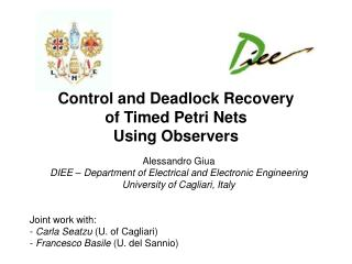 Control and Deadlock Recovery of Timed  Petri Nets Using Observers