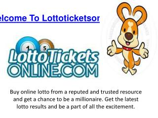 Online Lotto Results And Tickets