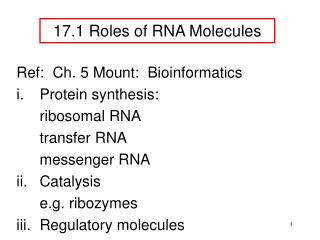 17 . 1 Roles of RNA Molecules