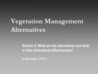 Vegetation Management Alternatives