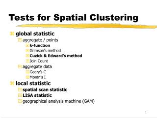 Tests for Spatial Clustering