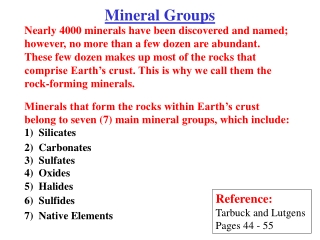 Mineral Groups in the Earth s Crust