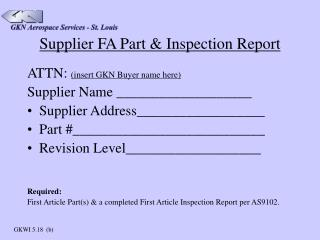 Supplier FA Part & Inspection Report